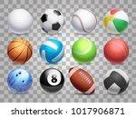 realistic sports balls vector... | Shutterstock .eps vector #1017906871