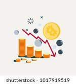 bitcoin's price drops. graph... | Shutterstock .eps vector #1017919519
