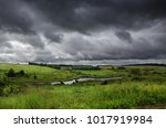 cloudy summer landscape with... | Shutterstock . vector #1017919984