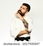 jiu jitsu master with black... | Shutterstock . vector #1017920347