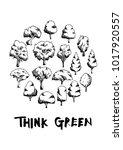 black line tree doodle...   Shutterstock .eps vector #1017920557