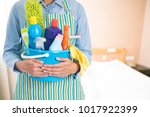 woman with cleaning equipment... | Shutterstock . vector #1017922399
