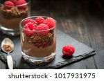 chocolate dessert in glasses...   Shutterstock . vector #1017931975