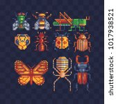 different insects set. pixel...   Shutterstock .eps vector #1017938521