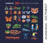 jungle tropical animal  pixel... | Shutterstock .eps vector #1017938527