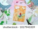 creative working place with... | Shutterstock . vector #1017943339