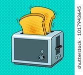 toaster with toasts pop art... | Shutterstock .eps vector #1017943645