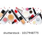 makeup brush and decorative... | Shutterstock . vector #1017948775