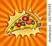 slice of pizza pop art retro... | Shutterstock . vector #1017951595