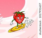 strawberry surfboard on milk... | Shutterstock . vector #1017951637