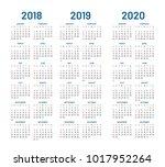 year 2018 2019 2020 calendar... | Shutterstock .eps vector #1017952264