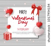 valentines day party invitation ... | Shutterstock .eps vector #1017954154