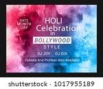 holi creative flyer  banner... | Shutterstock .eps vector #1017955189