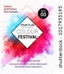 holi creative flyer  banner... | Shutterstock .eps vector #1017955195