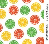 cut lemon pattern vector | Shutterstock .eps vector #1017956617