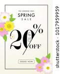 spring sale background with...   Shutterstock .eps vector #1017959959