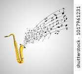 saxophone and music notes on... | Shutterstock . vector #1017961231