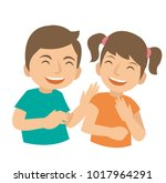 two young kids laugh and happy | Shutterstock .eps vector #1017964291