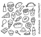 doodle food set  vector | Shutterstock .eps vector #1017964927