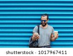 drinks  technology and people... | Shutterstock . vector #1017967411