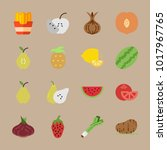 icons fruits and vegetables... | Shutterstock .eps vector #1017967765