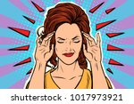 woman headache  medical symptom ... | Shutterstock .eps vector #1017973921