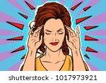 woman headache  medical symptom ...   Shutterstock .eps vector #1017973921