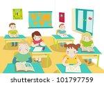 children in classroom... | Shutterstock . vector #101797759