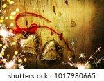 valentines hearts onwooden... | Shutterstock . vector #1017980665