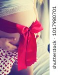 beautiful pregnant woman at home | Shutterstock . vector #1017980701
