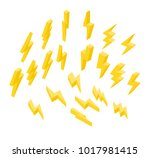 set of lightning on a white... | Shutterstock .eps vector #1017981415