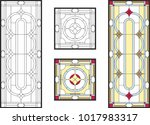 stained glass set. abstract... | Shutterstock .eps vector #1017983317