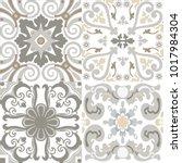 vector set of portuguese tiles... | Shutterstock .eps vector #1017984304