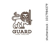 lion with a sword logo template ... | Shutterstock .eps vector #1017984379