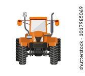 orange farm tractor front view. ... | Shutterstock .eps vector #1017985069