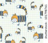 funny cat seamless texture....   Shutterstock .eps vector #101798761