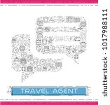 line travel icons are grouped... | Shutterstock .eps vector #1017988111