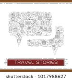 line travel icons are grouped... | Shutterstock .eps vector #1017988627