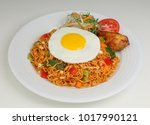 fired noodle spicy and fired... | Shutterstock . vector #1017990121