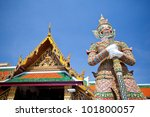 guardian of temple with blue... | Shutterstock . vector #101800057