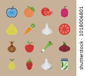 icons fruits and vegetables... | Shutterstock .eps vector #1018006801