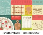placemat for pizzeria and fast ... | Shutterstock .eps vector #1018007059