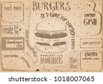 fast food drawn menu design.... | Shutterstock .eps vector #1018007065