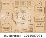burgers placemat   color paper... | Shutterstock .eps vector #1018007071