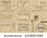 fast food restaurant placemat   ... | Shutterstock .eps vector #1018007089