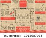 fast food restaurant placemat   ... | Shutterstock .eps vector #1018007095
