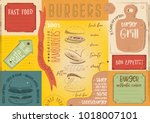 burgers placemat   color paper... | Shutterstock .eps vector #1018007101
