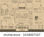fast food restaurant placemat   ... | Shutterstock .eps vector #1018007107