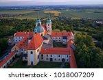 aerial view on pilgrimage... | Shutterstock . vector #1018007209