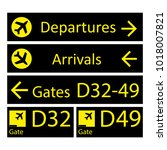 black and yellow airport signs... | Shutterstock .eps vector #1018007821